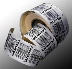 Label barcode yang sudah siap ditempelkan pada sebuah kemasan.