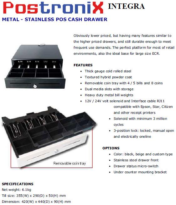 Cash Drawer Postronix Integra laci handal yang dapat di integrasikan dengan program ipos