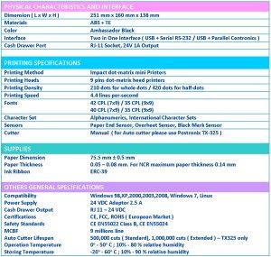 spesifikasi printer kasir postronix tx250 plus
