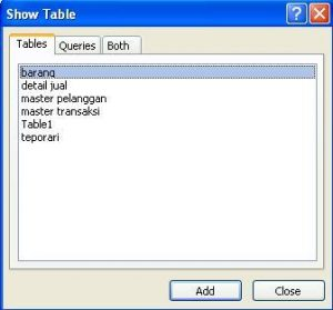 dialog show table