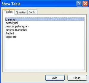 dialog show table