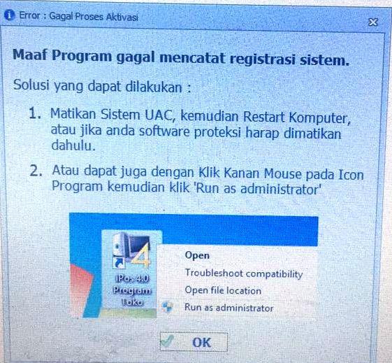 Program Gagal Mencatat Registrasi System
