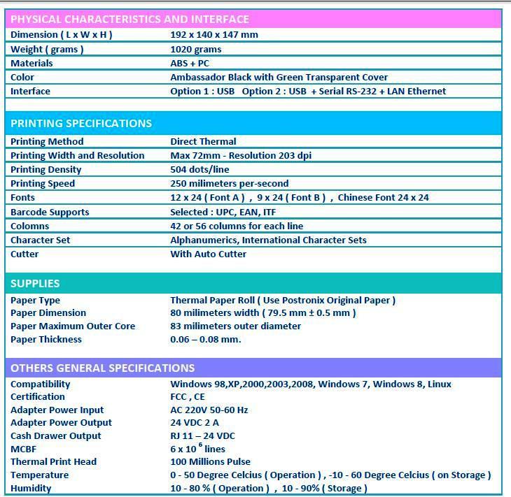 spesifikasi printer kasir postronix tx98