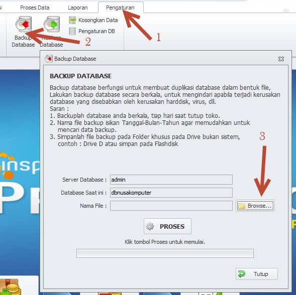 cara backup database kasir