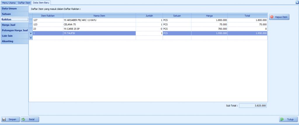 Cara Membuat Item Rakitan, IPOS4 Tutorial - Kios Barcode