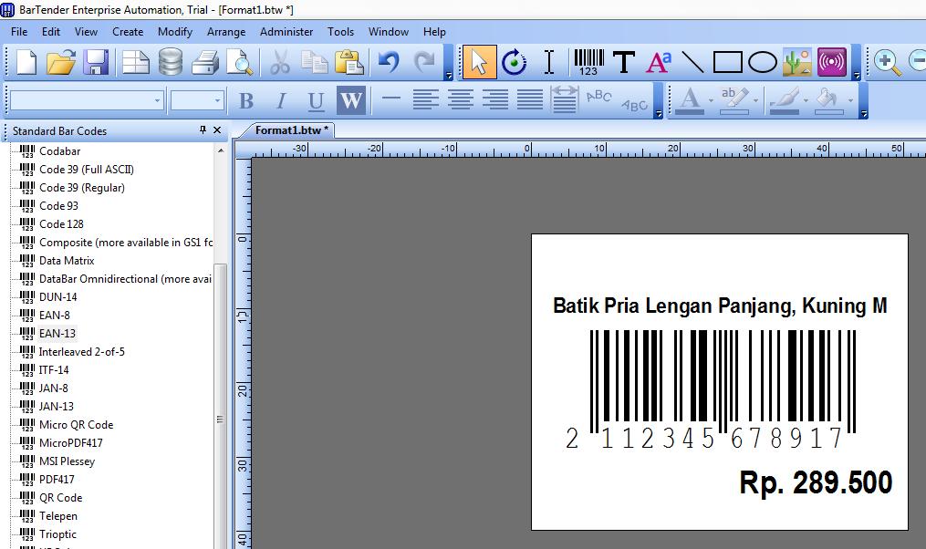 membuat label harga barcode