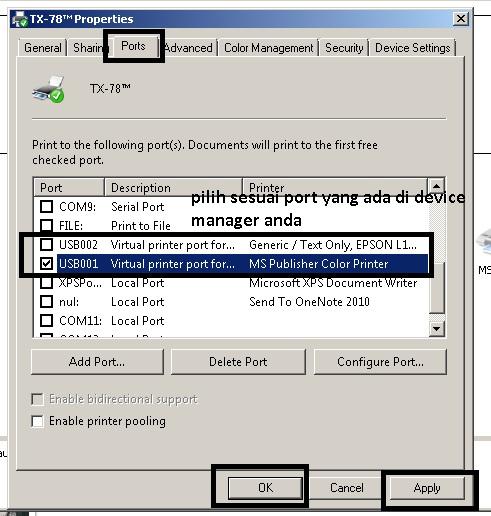 Cara Instalasi Dan Setting Port USB Driver Printer TX-78