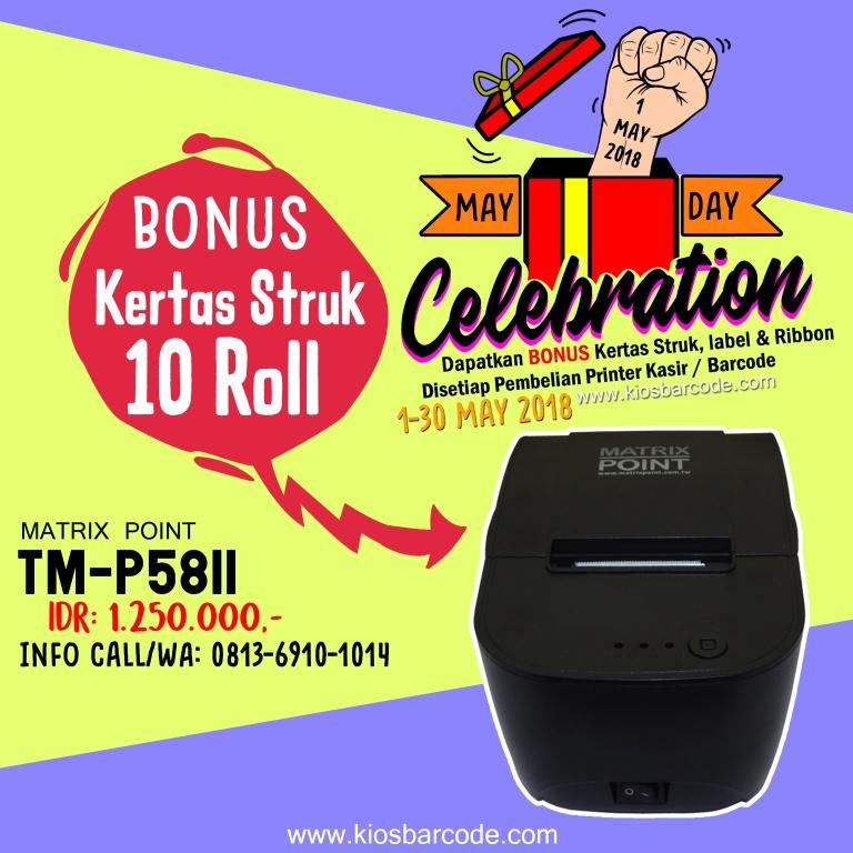 Promo Printer Matrix Point TMP58ii Plus Bonus Kertas Struk 10 roll